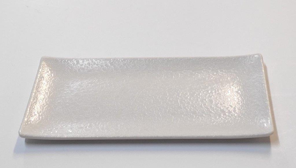 פלטה מלבנית מלמין 23X10 שמנת דגם אופק