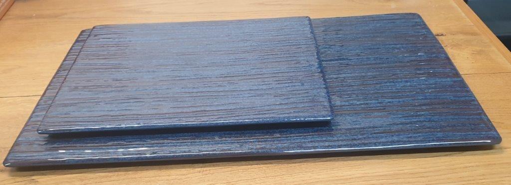 פלטה שטוחה מלמין 1/2 (32.5X26.5) כחול דגם קורל