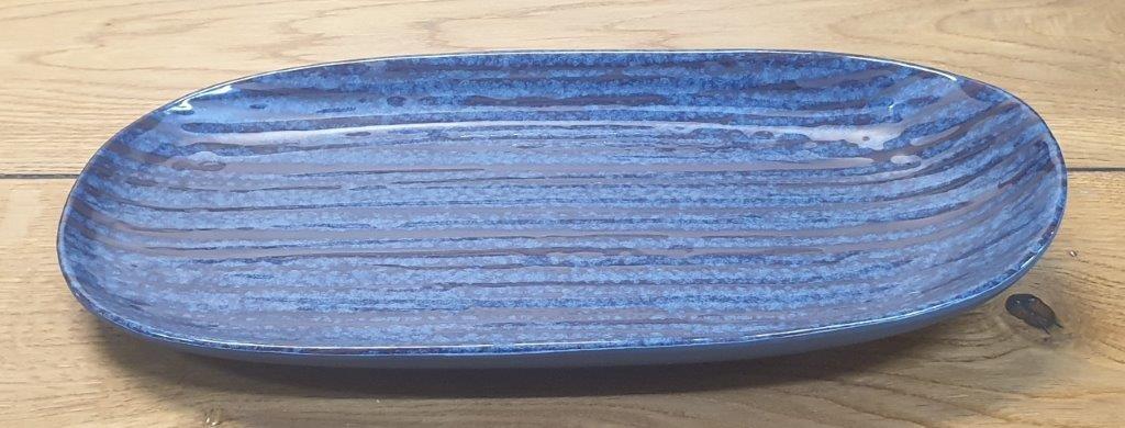 """פלטה אובלית 28 ס""""מ מלמין כחול דגם קורל"""