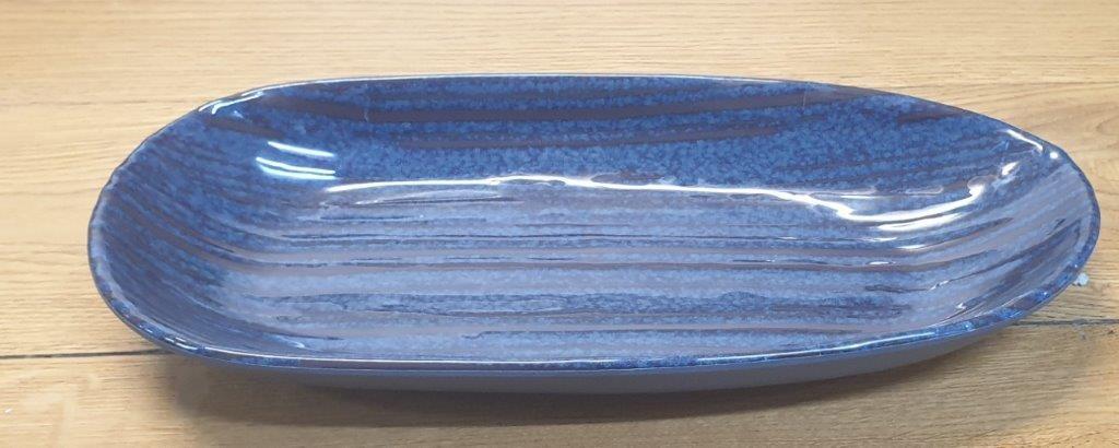 """פלטה אובלית 34 ס""""מ מלמין כחול דגם קורל"""