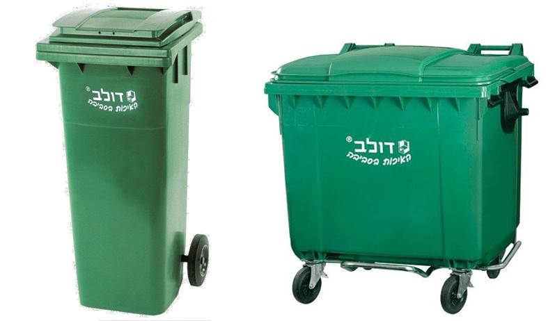 מודרניסטית עגלת אשפה 1100 ליטר ירוקה עם גלגלים - פחים ומתקני אשפה - פתרונות JO-64