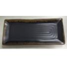 פלטה מלבנית שחורה עם מסגרת זהב מלמין 10.16x26.7